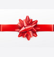 red gift bow with horizontal ribbon isolated on vector image