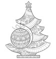 adult coloring bookpage a christmas fir tree with vector image vector image