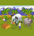 animal robots isometric composition vector image vector image