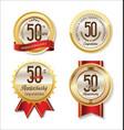 anniversary retro vintage golden labels vector image vector image
