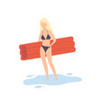 beautiful girl in swimsuit standing with air vector image vector image