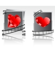 black-white snapshots with red diamonds vector image vector image