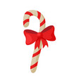 candy cane with red bow christmas and new year vector image