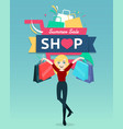 cartoon woman holding shopping bag with shopping vector image vector image