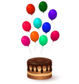 chocolate cake and balloons vector image vector image