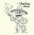 cinco de mayo cactus playing guitar vector image vector image