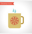 cup with hot drink and snowflake symbol vector image