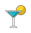 delicious cocktail with slice of lemon to refresh vector image