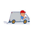 delivery man driving truck van cartoon vector image vector image