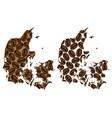 denmark - map of coffee bean vector image vector image