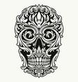 elegant skull traceries on dollar bill vector image vector image