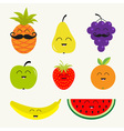 Fruit berry set Cartoon character face mustache vector image vector image