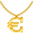 Gold necklace chain with euro symbol vector image vector image