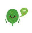 green spinach leaf character saying thank you vector image vector image