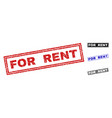 grunge for rent textured rectangle stamps vector image vector image
