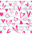 grunge hearts and stripes seamless pattern vector image vector image