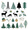 hand drawn christmas element set vector image vector image