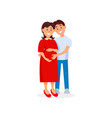 happy husband hugging his pregnant wife family vector image vector image