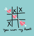 heart xo tic-tac-toe game past vector image vector image