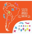 Linear style hand drawn travel map of South vector image vector image