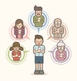 little boy chat online with his family by mobile vector image