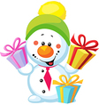 little snowman with gift isolated on white vector image vector image