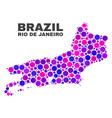 mosaic rio de janeiro state map of spheric dots vector image vector image