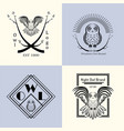 owl badge set vector image