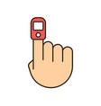 oxygen finger oximeter saturation pulse heart vector image