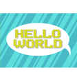 pixel art hello world slogan on vector image vector image
