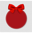 price tag with red bow isolated transparent vector image vector image