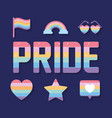 pride lettering and set icons with lgbtq vector image vector image