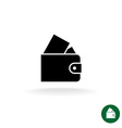 Purse black simple icon with full of money vector image vector image