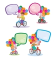 Set icons small children on bicycles vector image