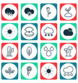 set of 16 landscape icons includes love flower vector image vector image