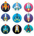 set of different types of rocket technological vector image