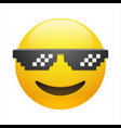 smiling emoticon with thug life pixel glasses vector image