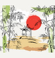 stylish composition with bamboo japanese gazebo vector image vector image