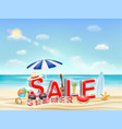 summer sale on a sea sand beach vector image vector image