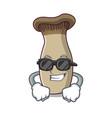 super cool king trumpet mushroom character cartoon vector image