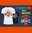 t-shirt with branding of basketball knight team vector image vector image