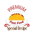 Tacos icon Mexican fast food emblem vector image vector image