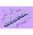 three dimensional word education with peo vector image vector image