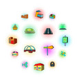 urban infrastructure icons set pop-art style vector image vector image