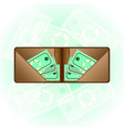 wallet and banknotes on green banknotes background vector image vector image