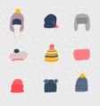 warm hats set cold season winter seamless pattern vector image