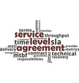 word cloud - service level agreement vector image vector image