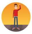 young man with arm up character vector image