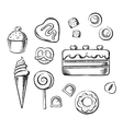 Sweet delicious pastry bakery and dessert sketch vector image