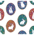Seamless pattern with floral easter eggs and bunny vector image